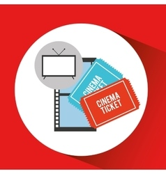 Screen tv movie cinema ticket strip film vector