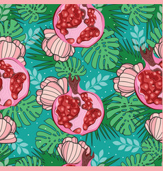 Seamless pattern with exotic pomegranate palm vector