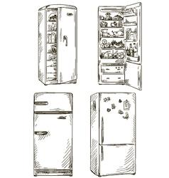 set of four hand drawn fridges vector image vector image