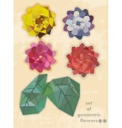 set of geometric flowers vector image