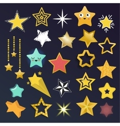 Set of shiny star icons in different style vector image vector image