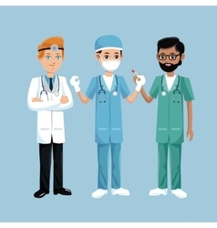 Set staff medical men health workers vector