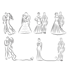 silhouette of bride and groom set newlyweds sketch vector image vector image