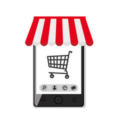 smartphone device with cart shopping isolated icon vector image
