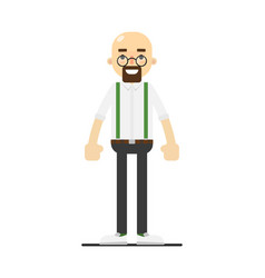 Smiling bald and bearded man character vector