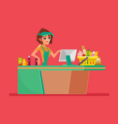 supermarket smiling cashier woman character vector image