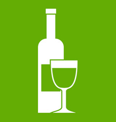 wine bottle and glass icon green vector image vector image