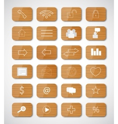 Wood social button vector