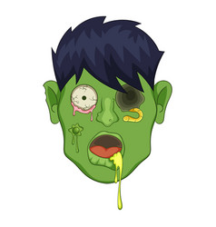 zombie head icon cartoon style vector image vector image