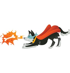 Super Hero dog is looking up in bone with fire vector image