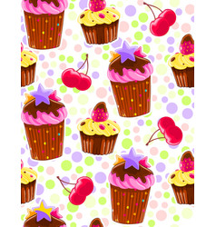 Seamless decorative pattern with muffins and vector