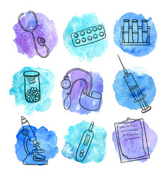 Doodle set of medical equipment vector