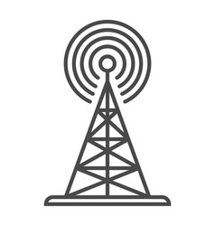 Radio broadcasting tower linear icon vector
