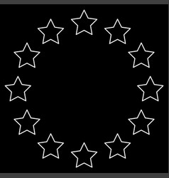Stars in circle white color path icon vector