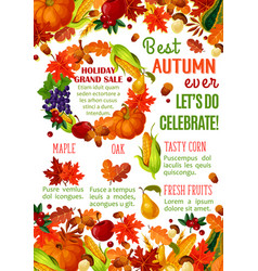 Autumn sale banner with fall season leaf frame vector