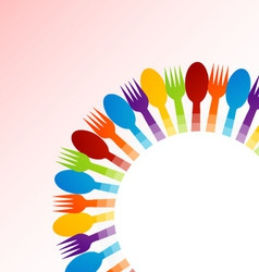 Background with spoons and forks vector