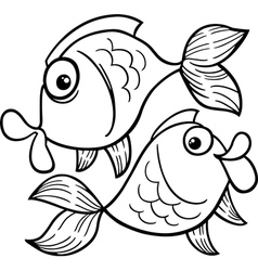 Zodiac pisces or fish coloring page vector
