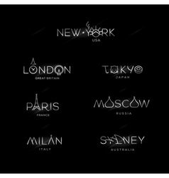 World Cities labels - New York Milan Paris London vector image