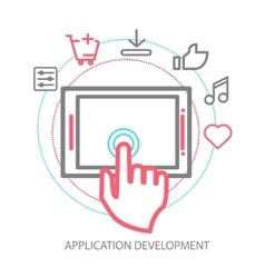 mobile app development concept line vector image