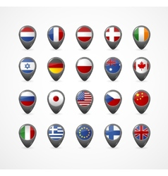 Gps Pin with flag for map vector image