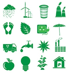 Green ecology icons set vector