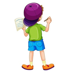Boy writing vector image