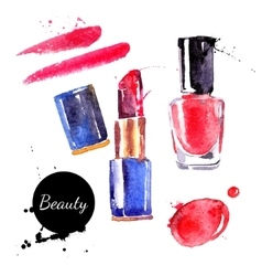 Watercolor cosmetics set hand painted make up vector