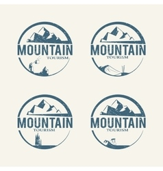 Mountain tourism logos vector