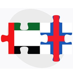 United arab emirates and faroe islands flags vector