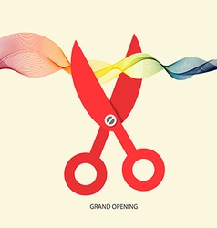 Grand opening with scissors and colorful wave vector