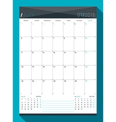 July 2016 design print template monthly calendar vector