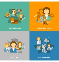 Veterinary clinic 4 flat icons square vector