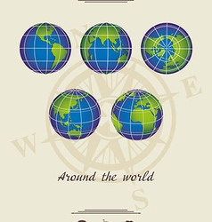 Around the world light coloured background vector