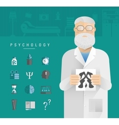 Adult men in a white coat psychologist vector