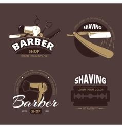 Barber shop and shave vintage logo labels vector image vector image