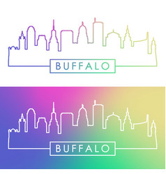 Buffalo skyline colorful linear style editable vector