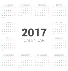 Calendar 2017 Basic Style vector image vector image