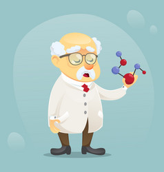 cartoon old funny scientist vector image vector image
