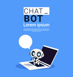 Chat bot robot using laptop computer and hold vector