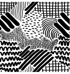 Complex hand drawn stripes and dots vector