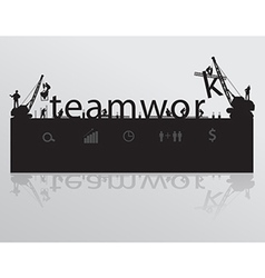 Construction site crane building teamwork text vector image vector image