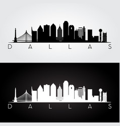 dallas usa skyline and landmarks silhouette vector image vector image