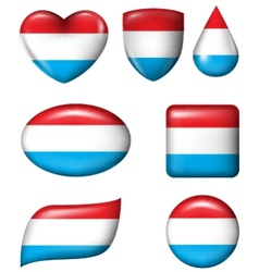 Dutch Flag in various shape glossy button vector image