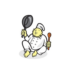 Fat buddha chef cook sitting cartoon vector
