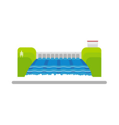 Flat hydroelectric power station water dam vector