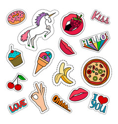 funny food stickers set vector image vector image