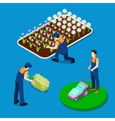 Gardener trimming plants isometric people vector