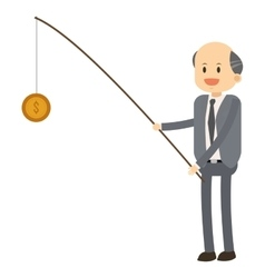Happy businessman fishing coin icon vector