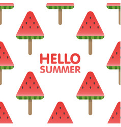 Hello summer letters in seamless watermelon vector