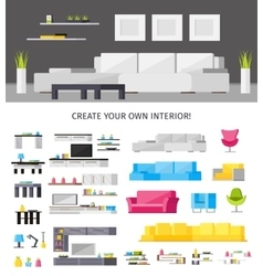 Home interior orthogonal concept vector